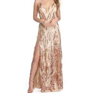 Alexa Rose Fold Sequin Scroll Formal Dress